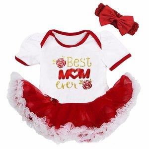 baby jurk tutu romper Best Mom Ever Rood Wit