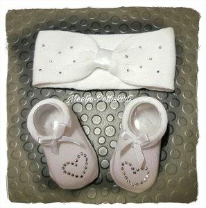 Babysokjes + haarband giftbox wit 0-6 maanden