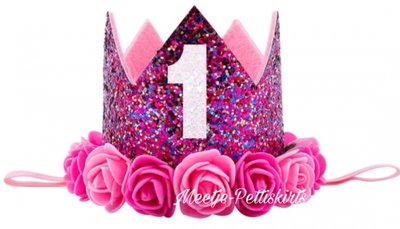 Verjaardag Hotpink Glitter Kroon Haarband Fuchsia roosjes nr 1