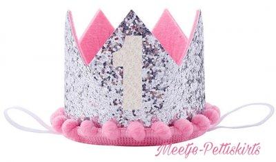 Verjaardag Zilver Glitter Kroon Haarband Roze bolletjes nr 1