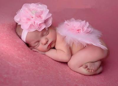 Engelvleugels Luxe pink bloem kant + Haarband Newborn.