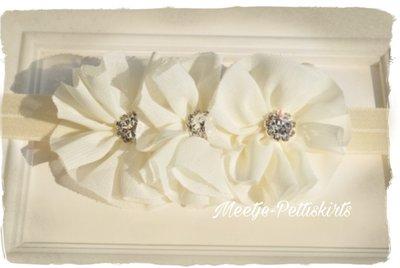 Baby Girl Luxury rose Flowers creme Diamond Haarband