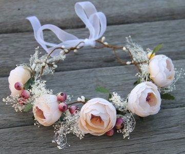 Bloemen kroon haarband Taupe
