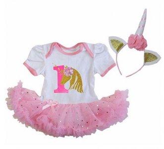 Unicorn baby tutu romper glitter + Diadeem