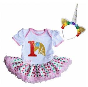 Unicorn baby tutu romper rainbow + Diadeem