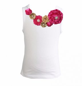 Top Rossette Luxe Vintage Rose Garden Goud Hotpink 62-164