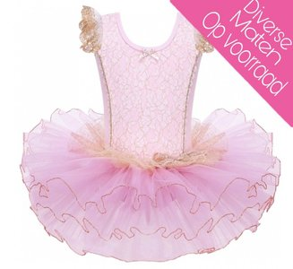 Balletpakje Fairy Roze Goud Tutu maat 92-140