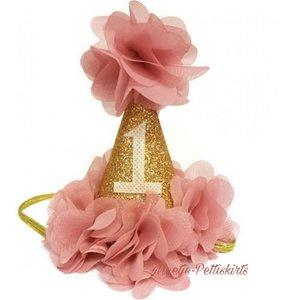 Verjaardag mutsje Vintage Dusty Pink Goud 1 jaar