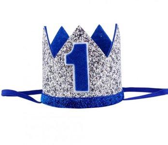 Verjaardag Kroon Zilver Blauw Haarband