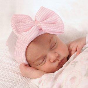 Baby mutsje ziekenhuis 1e mutsje roze wit Strik.