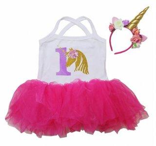 Unicorn baby tutu jurkje Hotpink + Diadeem