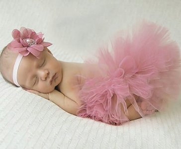 Baby soft tutu & parel haarband  Dusty Pink