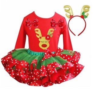 Kerstjurk Meisje green red stippel tutu set Rendier Funny Rood longsleeve + diadeem