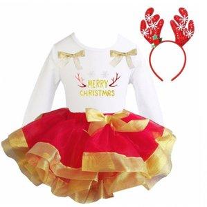 Kerstjurk Meisje Rood Goud tutu set Merry Christmas longsleeve + diadeem