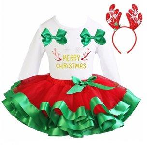 Kerstjurk Meisje Rood Groen tutu set Merry Christmas longsleeve + diadeem