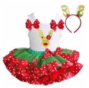 Kerst jurk tutu Rood wit groen stippel Rendier Funny + Haarband