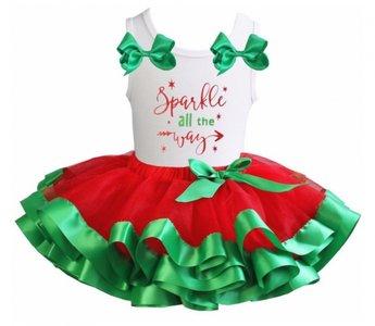 Kerst jurk tutu Rood wit groen Sparkle season