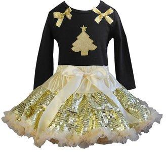 Kerst petticoat set 2delig Goud glitter  longsleeve 92-104