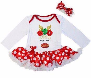 Baby kerstjurk Cutie Rendier polka dot wit rood longsleeve
