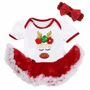 Baby kerstjurk Cutie Rendier wit rood