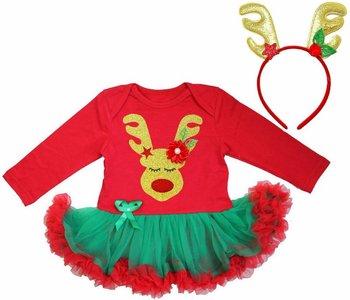 Baby kerst jurkje Cutie Rendier rood Groen  + Diadeem