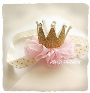 Kroon haarband Goud roze ruffle en polkadot haarband