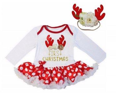 Baby 1e kerst jurkje funny Rendier rood wit + haarband