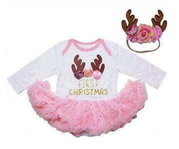 Baby 1e kerst jurkje funny Rendier roze wit + haarband