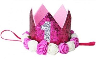 Verjaardag Glitter Kroon Haarband Hotpink Wit roosjes nr 1