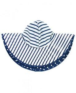Zwemhoed / Zonnehoed Blauw Wit omkeerbaar