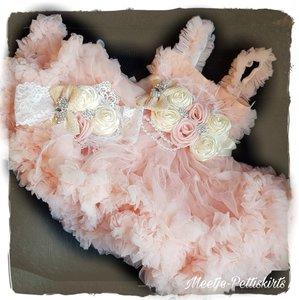 Feestjurk Pettidress By Meetje Peach Chrystal Satin Flower luxe 3delig