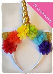 Unicorn diadeem rainbow bloem