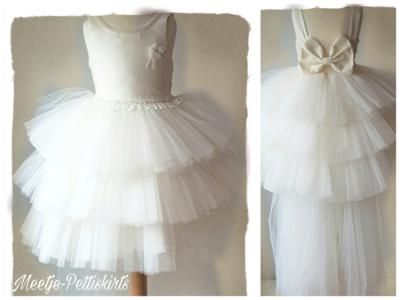 Bruidsmeisje jurk Communie ivoor creme sleep 98-146