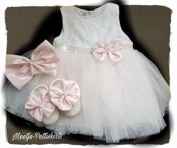 Baby jurk Grote Strik ivoor licht roze 3 delige set