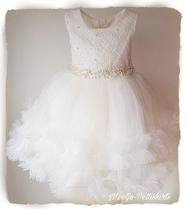 Bruiloft jurk meisje Ivoor lovely flower + diadeem  98-128