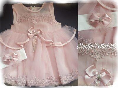 Luxe baby jurk Dusty Pink Couche Tot 3-24 maanden.