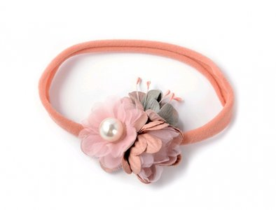 Baby mini stretch haarband  Vintage flower dusty pink