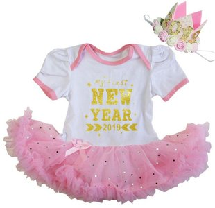 baby jurkje Happy new year 2019  ROZE WIT GLITTER  + KROON