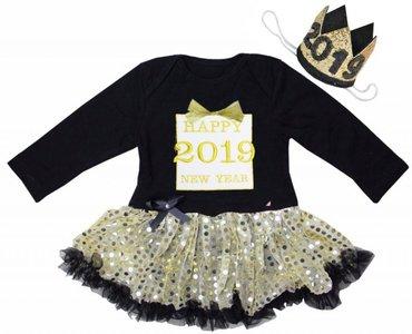 baby jurkje Happy new year 2019 gift longsleeve zwart goud glitter & Kroon