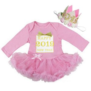 baby jurkje Happy new year 2019 gift longsleeve roze & Kroon