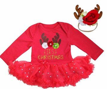Baby kerstjurk Cutie Rendier first XMAS rood