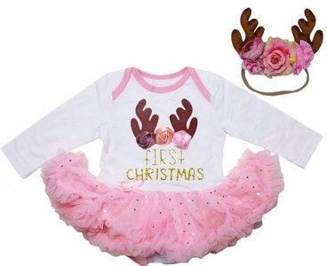 Baby kerstjurk Cutie Rendier first XMAS
