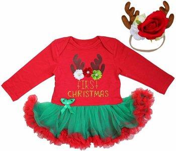 Baby kerstjurk Cutie Rendier first XMAS rood Groen