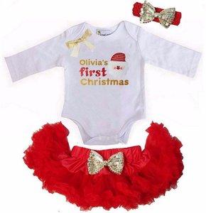 1e baby kerst Petticoat set Rood Kerstman