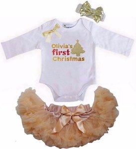1e baby kerst Petticoat set Goud Kerstboom