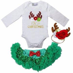 1e baby kerst Petticoat set Groen Rood rendier