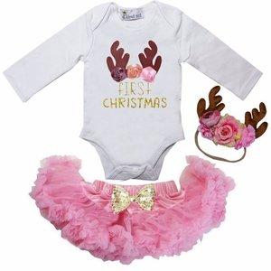 1e baby kerst Petticoat set roze rendier
