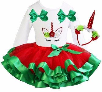 Unicorn Kerst Tutu setjes rood groen + Eenhoorn diadeem