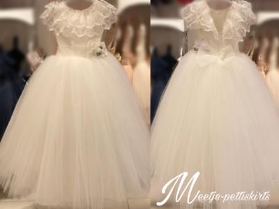 Communie jurk / Bruiloft meisje jurk Brocant ivoor