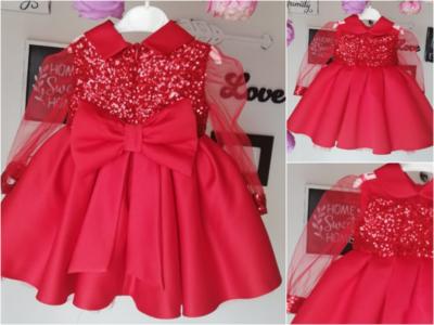 Feestjurk Rood Satijn Luxe Glitter met doorzichtige lange Mouw